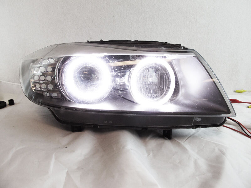 brightest uhp led angel halo rings kit for 09 11 e90 e91 oem headlight xenon hid ebay. Black Bedroom Furniture Sets. Home Design Ideas