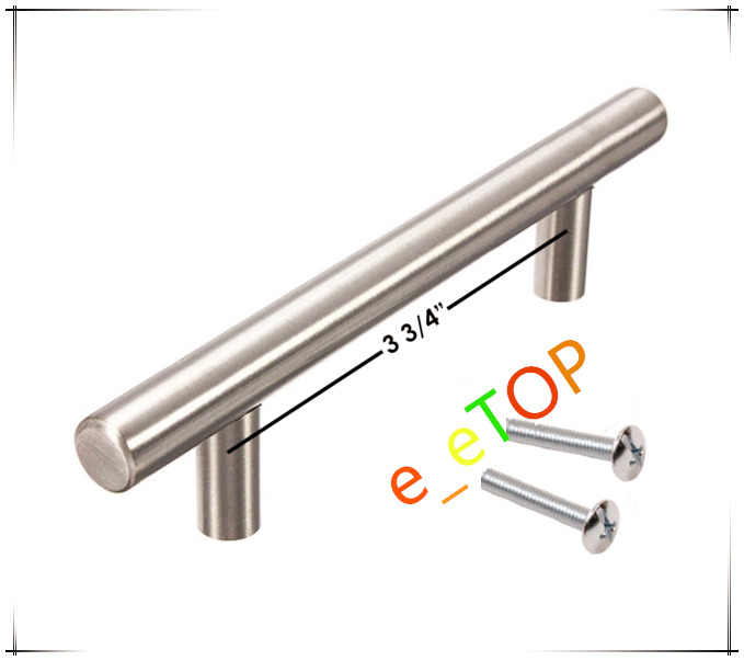 6 bar pull stainless steel kitchen cabinet handles 3 3 4 for Bar handles for kitchen cabinets