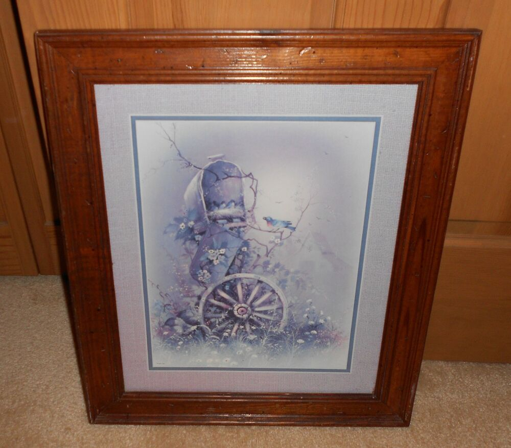 Vintage Home Interior Wagon Wheel And Mailbox Framed
