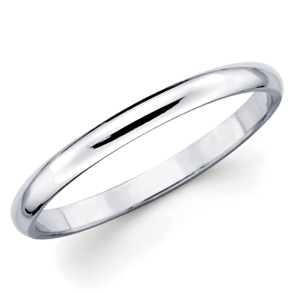 White Gold Bands: 10K Solid White Gold 2mm Plain Men's And Women's Wedding