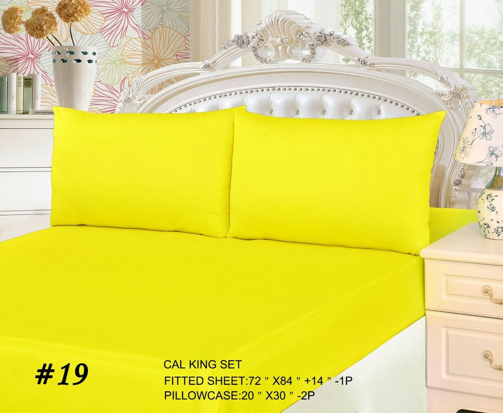 Tache Cotton Solid Neon Bright Yellow Lemon Fitted Deep