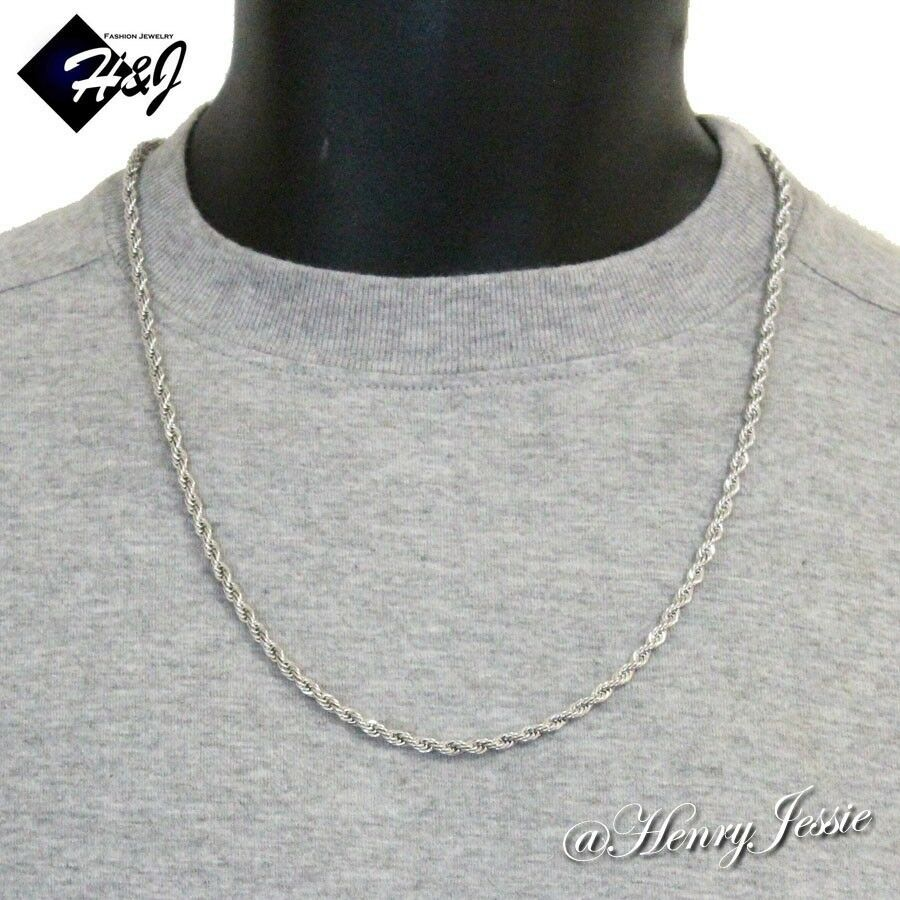 24 Quot Men S Stainless Steel 3 5mm Silver Smooth Rope Chain