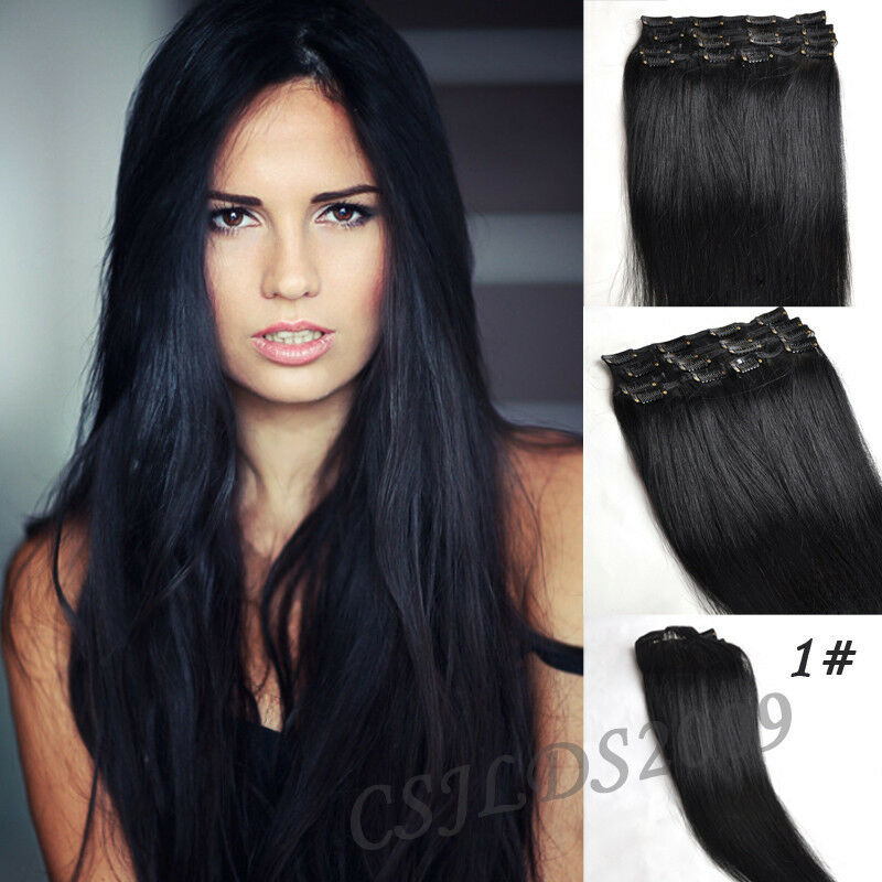 Clip In 100% Real Human Hair Extensions Jet Black #1 Full ...