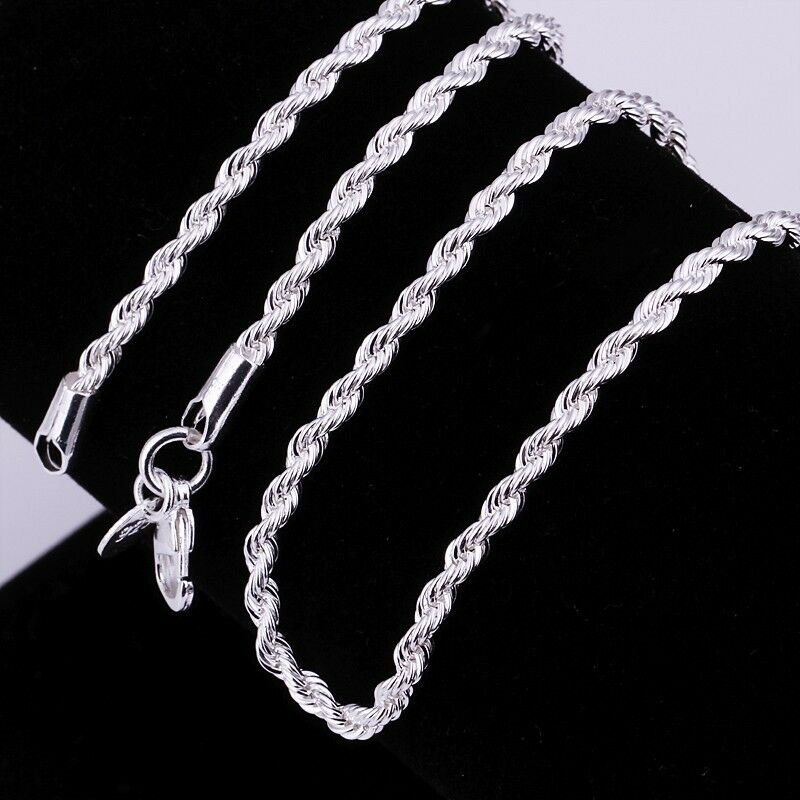 2mm 3mm silver rope chain necklaces for pendants jewelry