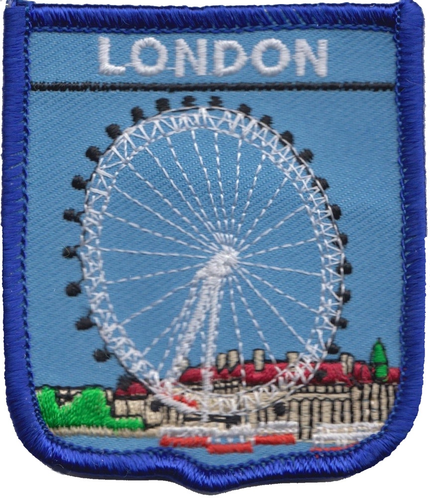 City of london eye on river thames flag embroidered patch
