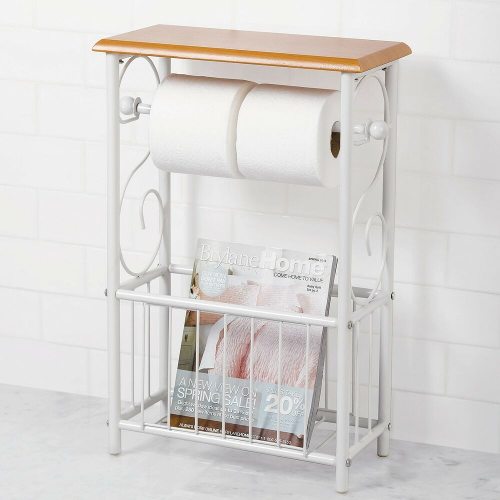 New White Honey Oak Toilet Tissue Paper Magazine Rack Holder Bathroom Table Ebay