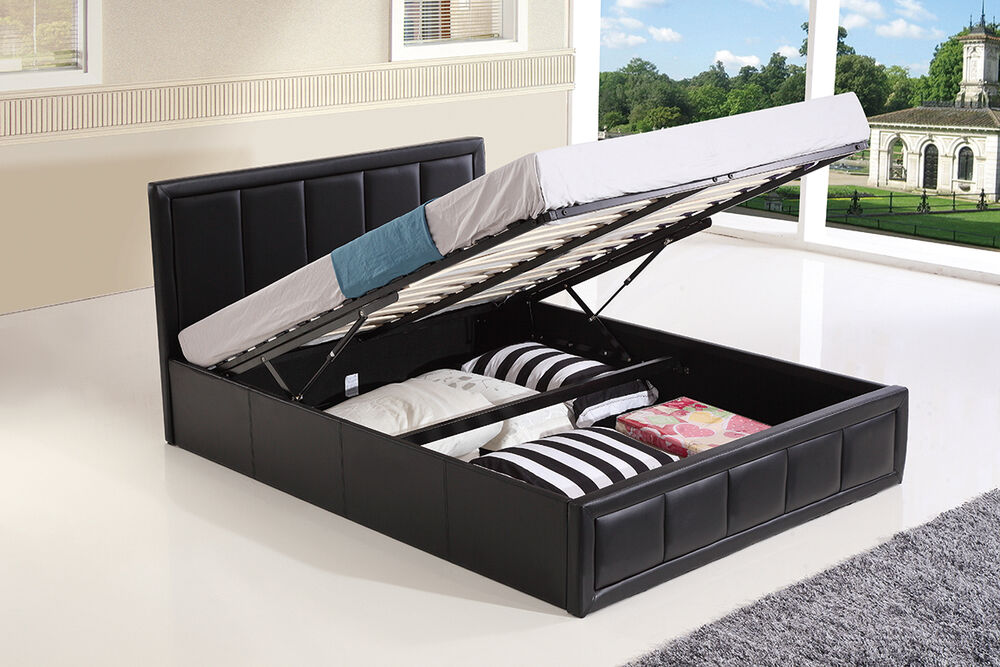 OTTOMAN STORAGE GAS LIFT UP DOUBLE & KING SIZE LEATHER BED ...