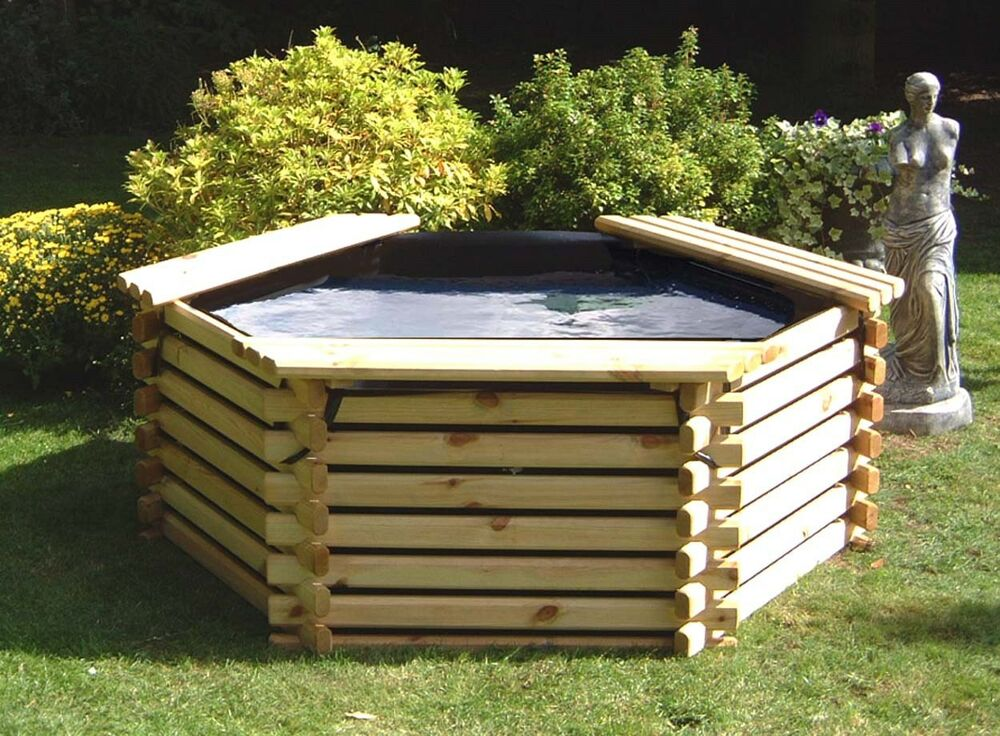 New wooden pool 175 gallon garden water feature raised for Garden table fish pond
