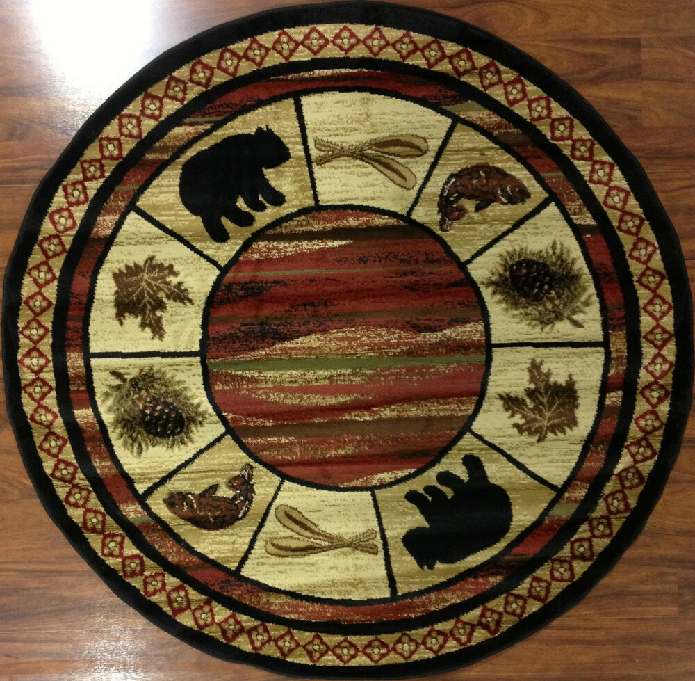 8' Round Bear Fish Oar Black Red Beige Vogel Lodge Cabin