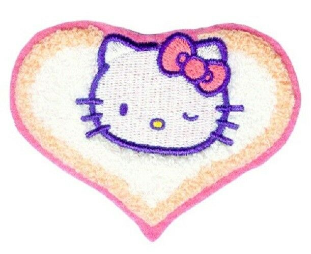 A27d hello kitty winking chenille sew iron on patch 3 5 quot x 2 5