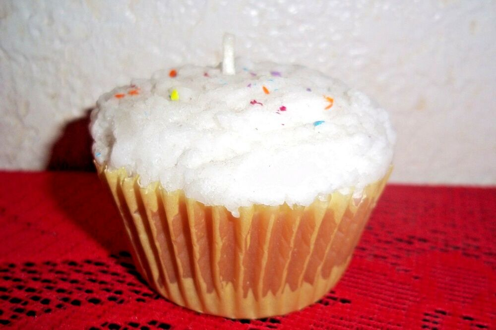 Cupcake candle wax figure decoration with sprinkles party for Decoration wax