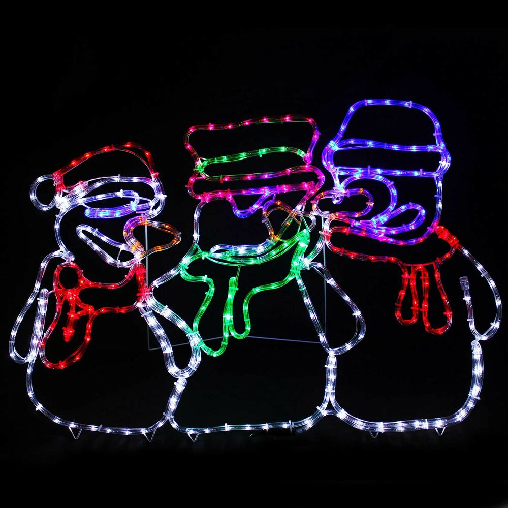 Animated snowman led rope lights silhouette outdoor for Led outdoor decorations