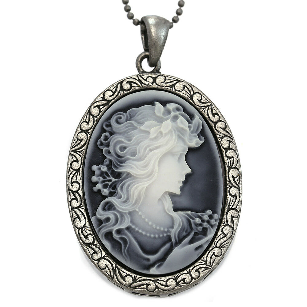 Vintage Antique Style Grey Raise Cameo Necklace Pendant Ebay
