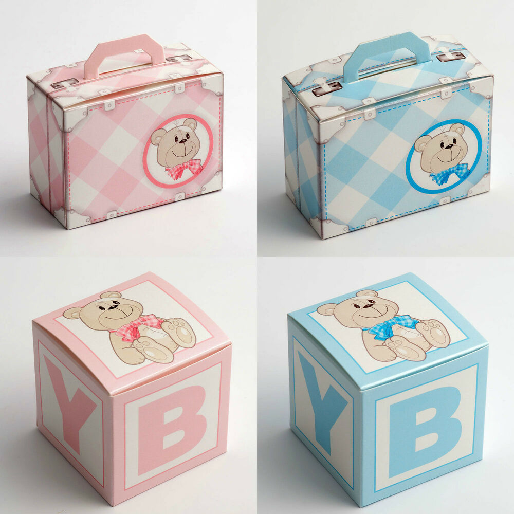 Favour Boxes Baby Blue : Best quality diy baby blue pink boy girl teddy christening