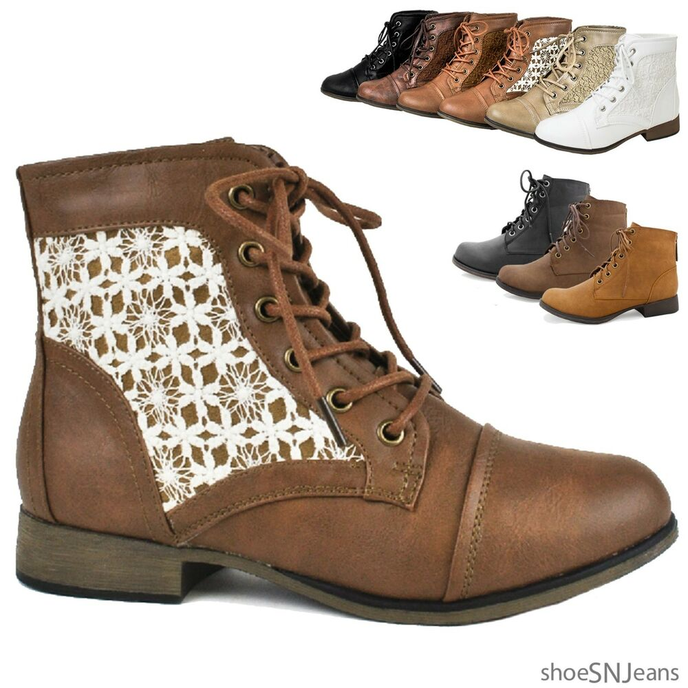 Simple Womens Chic Combat Ankle Boots