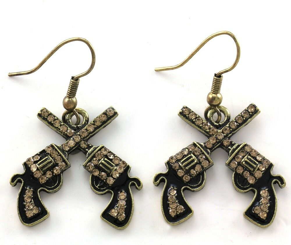 Retro Vintage Style Western Cowgirl Dual Revolver Pistol Gun Dangle Earrings J2 Ebay