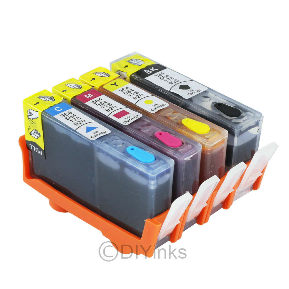 4pk Refillable Ink Cartridge SET for HP 564 / 564XL ...