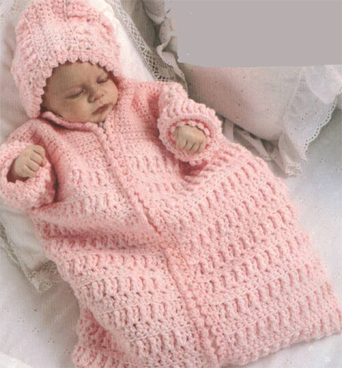 Lovely Baby Hooded Sleeping Bag Crochet Pattern Only Fits 0 3