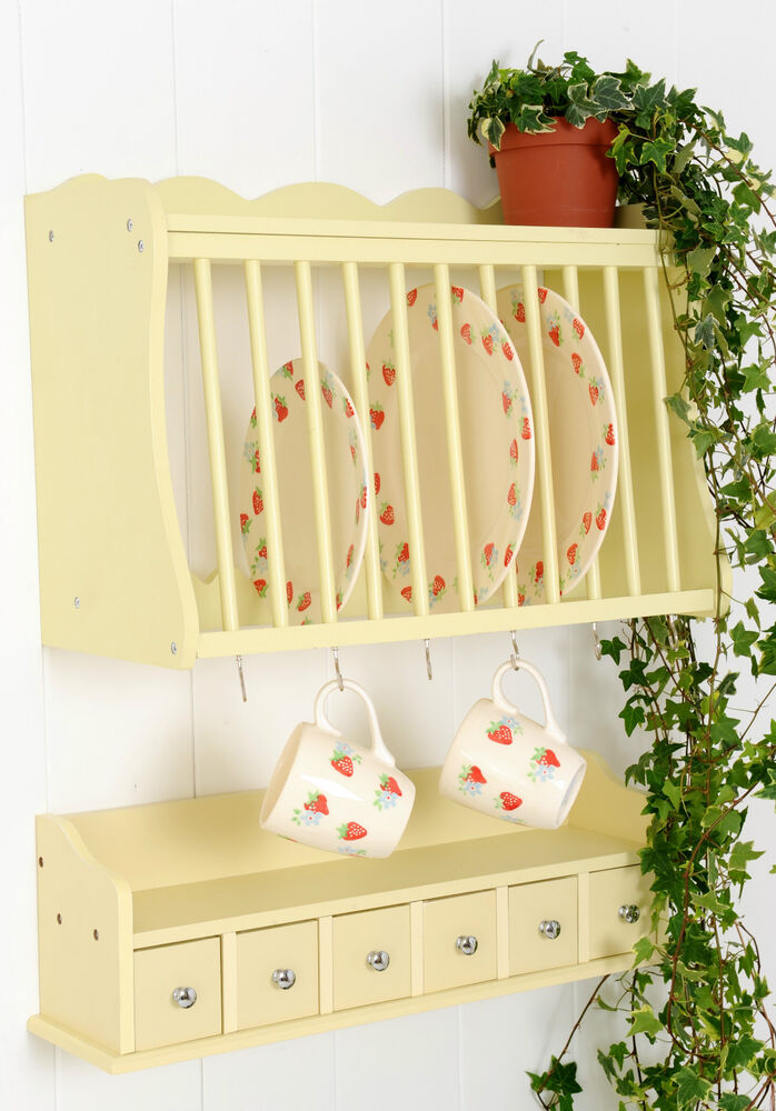 Kitchen Plate Rack Wall Mounted WoodenWood and Spice
