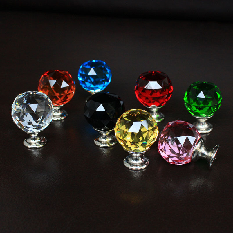 Crystal Glass Drawer Knobs Cabinet Handle Kitchen Pulls