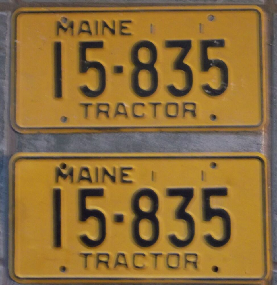 Tractor License Plates : Vintage pair maine tractor license plate farm barn