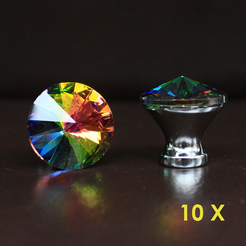 Crystal glass drawer knobs kitchen cabinet handle pulls for Colored glass cabinet knobs
