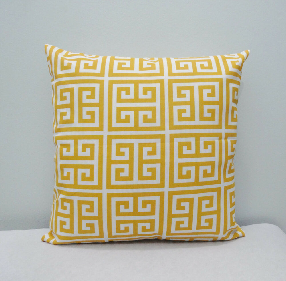 Bouclair Home Decorative Pillows : Outdoor/Indoor Towers Citrus Yellow / White Home Decor Throw Pillow Cover / Case eBay