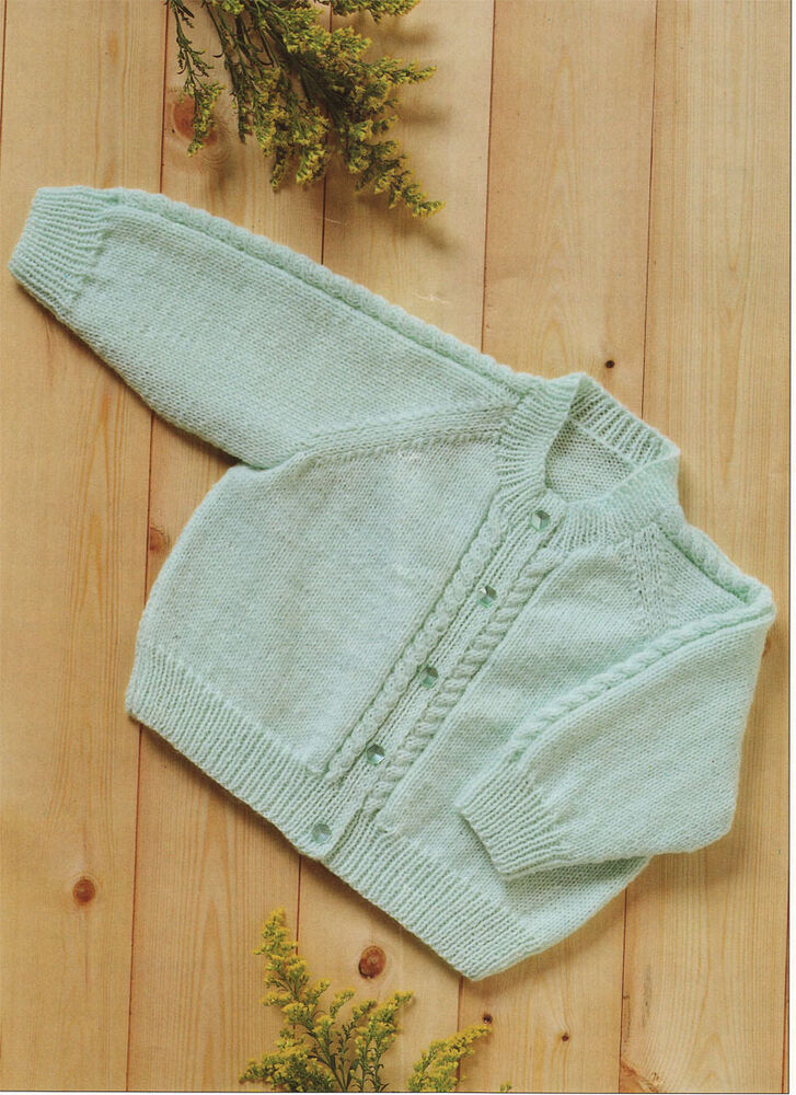4 Ply Knitting Patterns Free Ladies : Lovely easy Knit 4 ply baby Cardigan Knitting Pattern- Cable pattern eBay