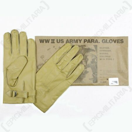 img-American Paratrooper Gloves - WW2 US Leather Cowhide Airborne Yellow Rigger New