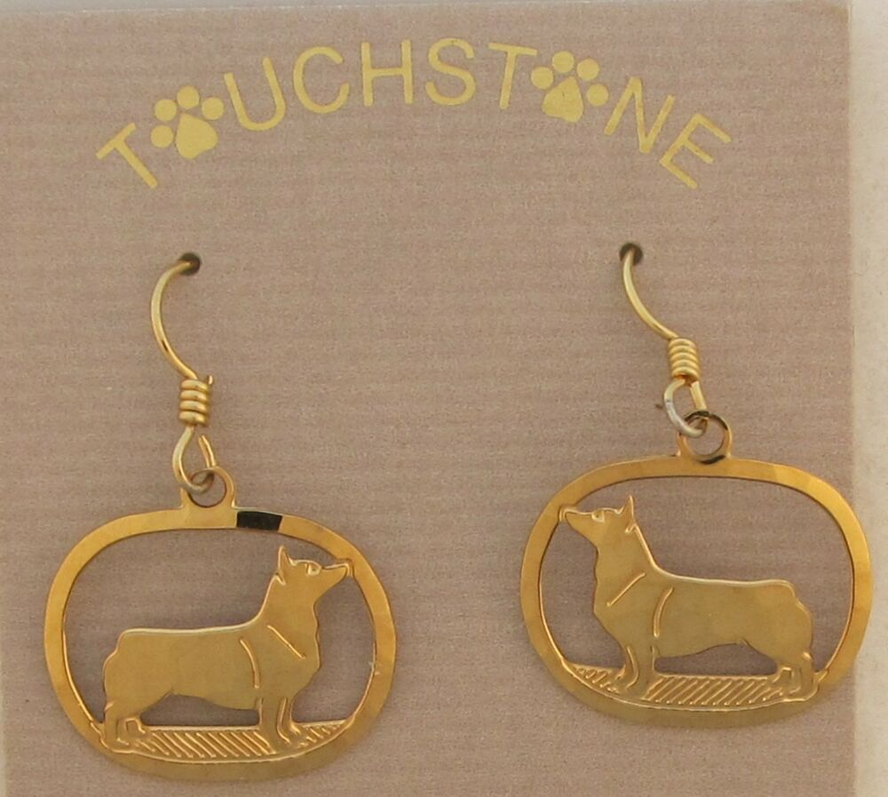Swedish Vallhund Jewelry Gold Dangle Earrings By