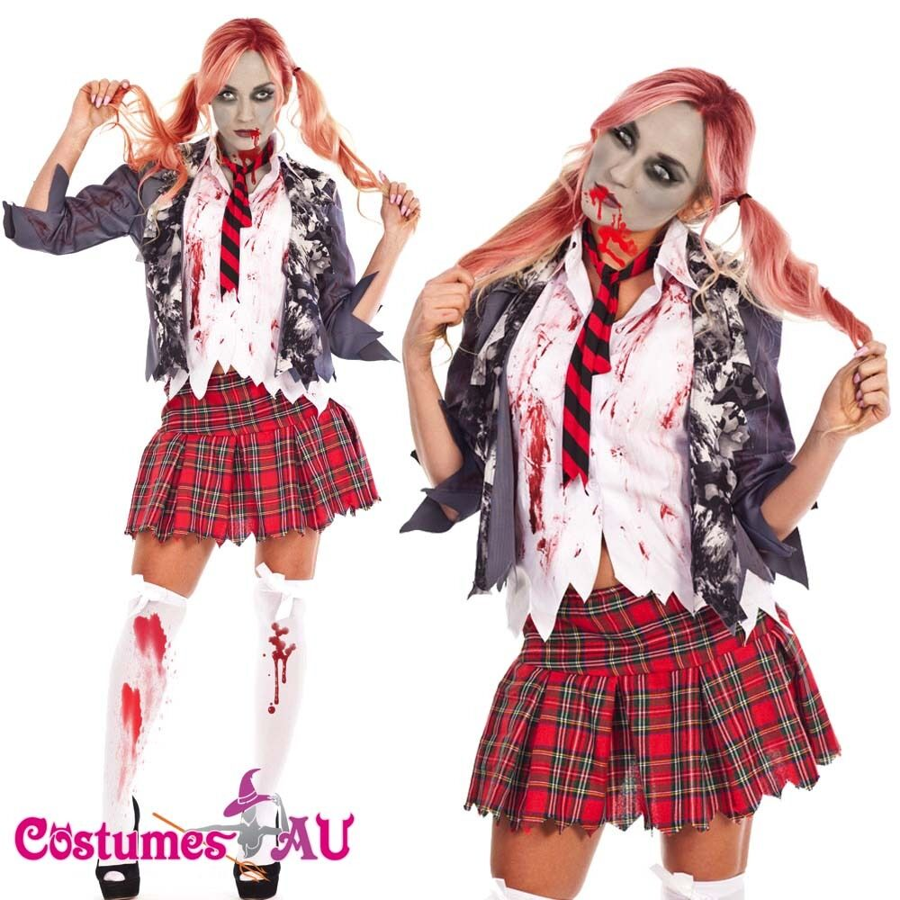 Ladies Halloween Zombie Bloody School Girl Costume Fancy Dress Party Outfits | eBay
