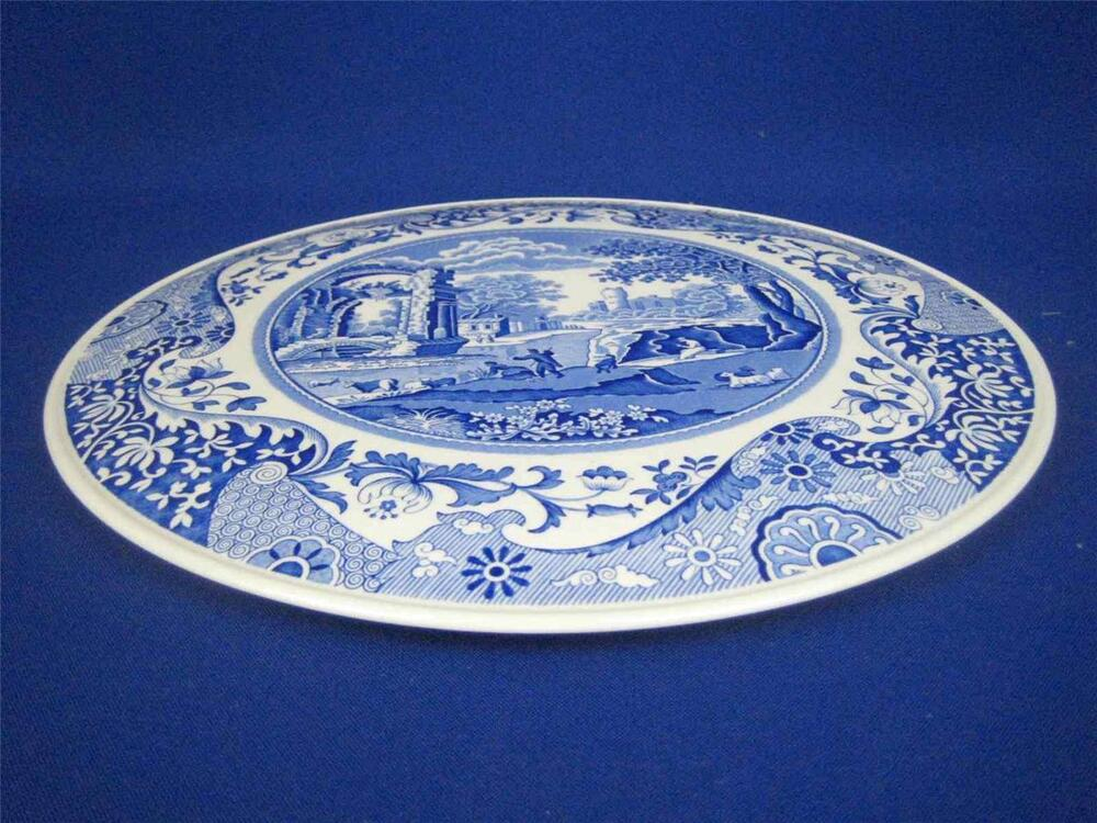 spode made in england blue italian 11 5 round domed footed cake plate ebay. Black Bedroom Furniture Sets. Home Design Ideas