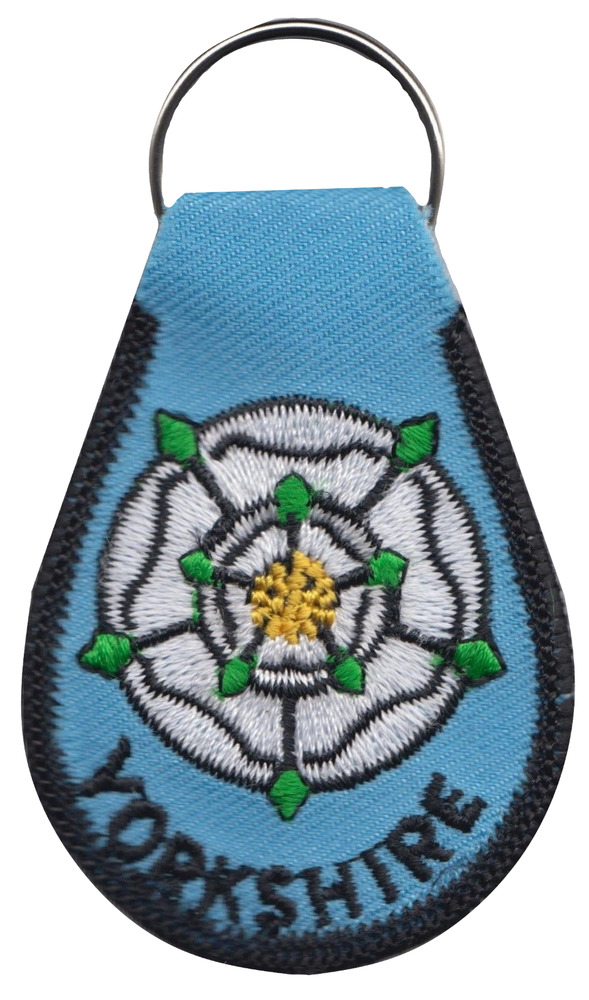 Yorkshire county rose flag embroidered patch badge key