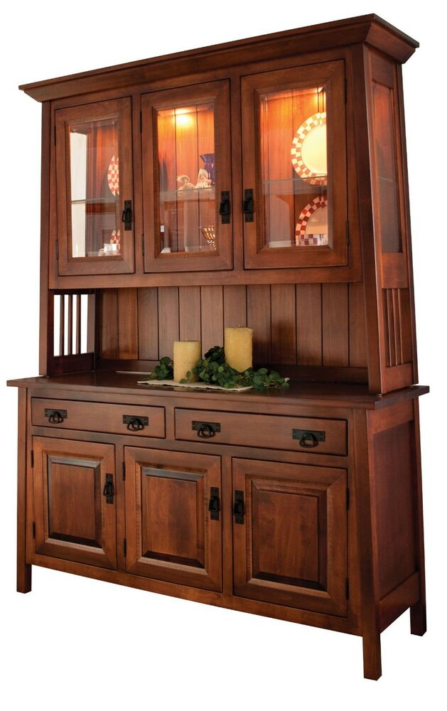 Amish dining room mission hutch buffet server china cabinet solid wood inlay ebay - Amish built kitchen cabinets ...