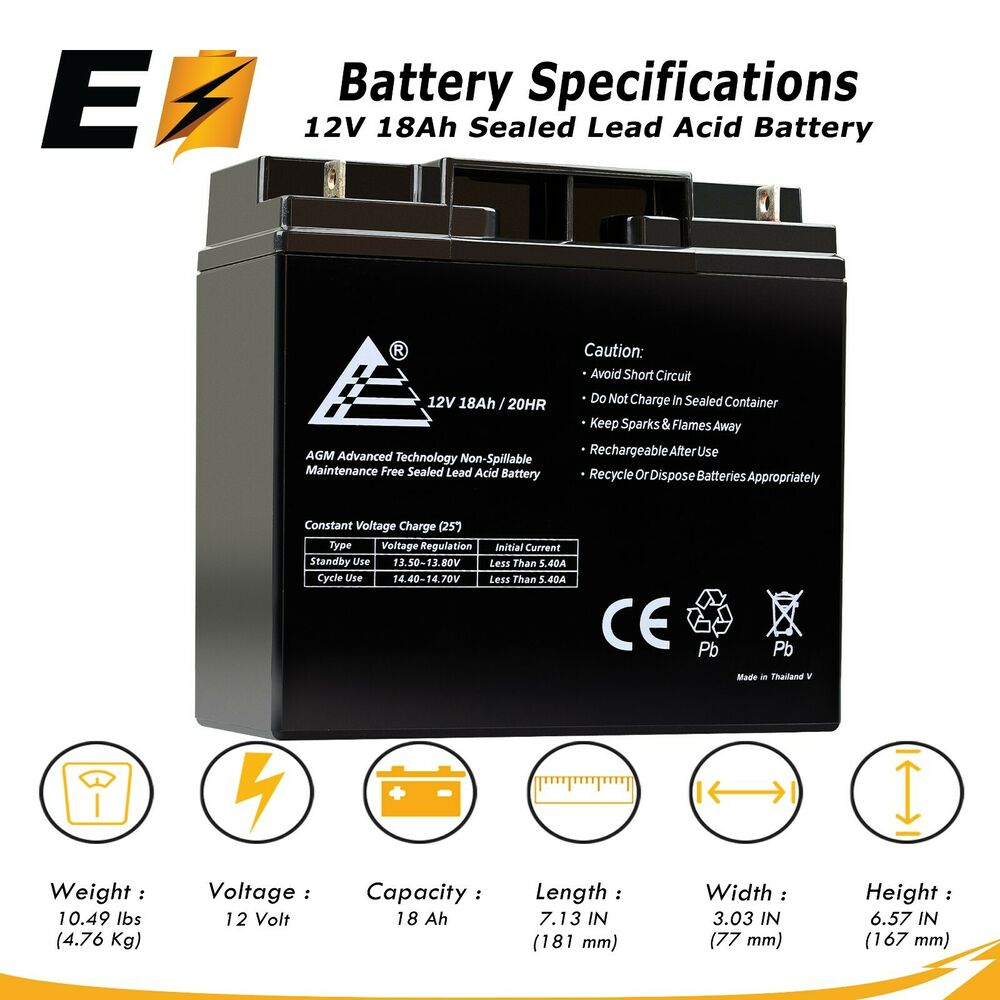 12V 18Ah Sealed Lead Acid Scooter Battery D5745 40648 WP18 ...
