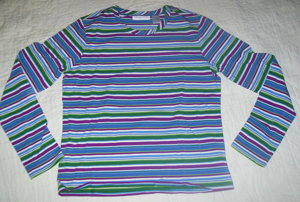 Chadwicks blue purple green stripe long sleeve t shirt for Purple and black striped t shirt