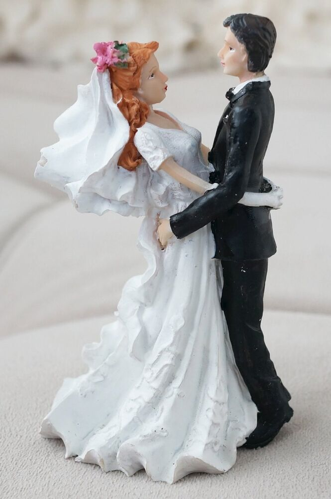 Romantic Vintage Bride And Groom Cake Topper Red Hair