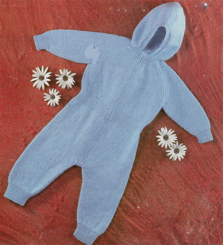 Knitting Pattern Baby All In One : Vintage baby All in one Knitting pattern- Winter Suit fits ...