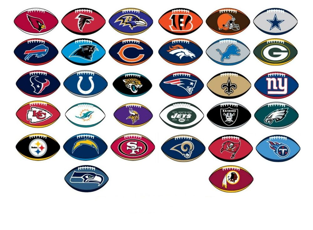 Nfl Licensed Decal Stickers Football Shape Complete Set Of