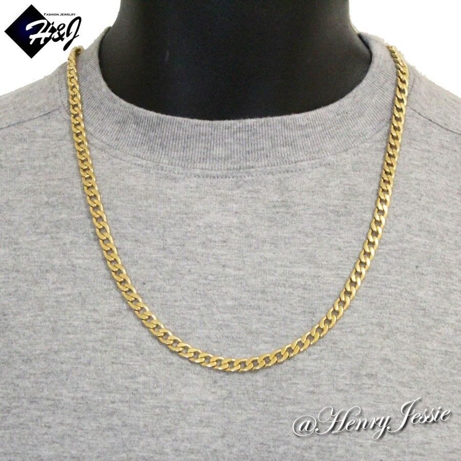 24 men 39 s stainless steel 6mm gold cuban curb link chain for Do pawn shops buy stainless steel jewelry