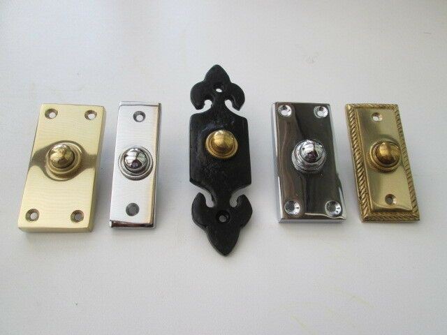 Solid brass bell push door bell push wired in 3 finishes for Door bell push