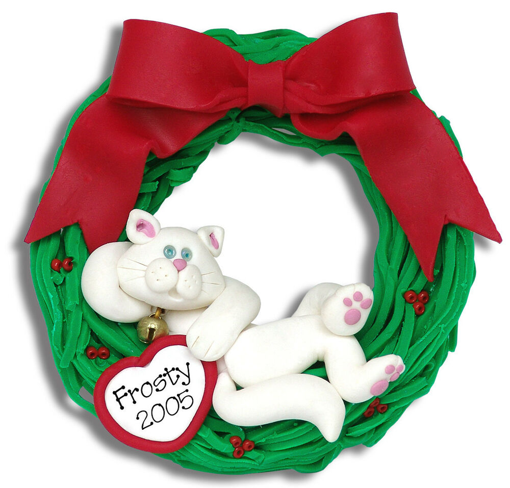 Polymer Clay Christmas Ornament: WHITE CAT In WREATH Handmade Polymer Clay Personalized