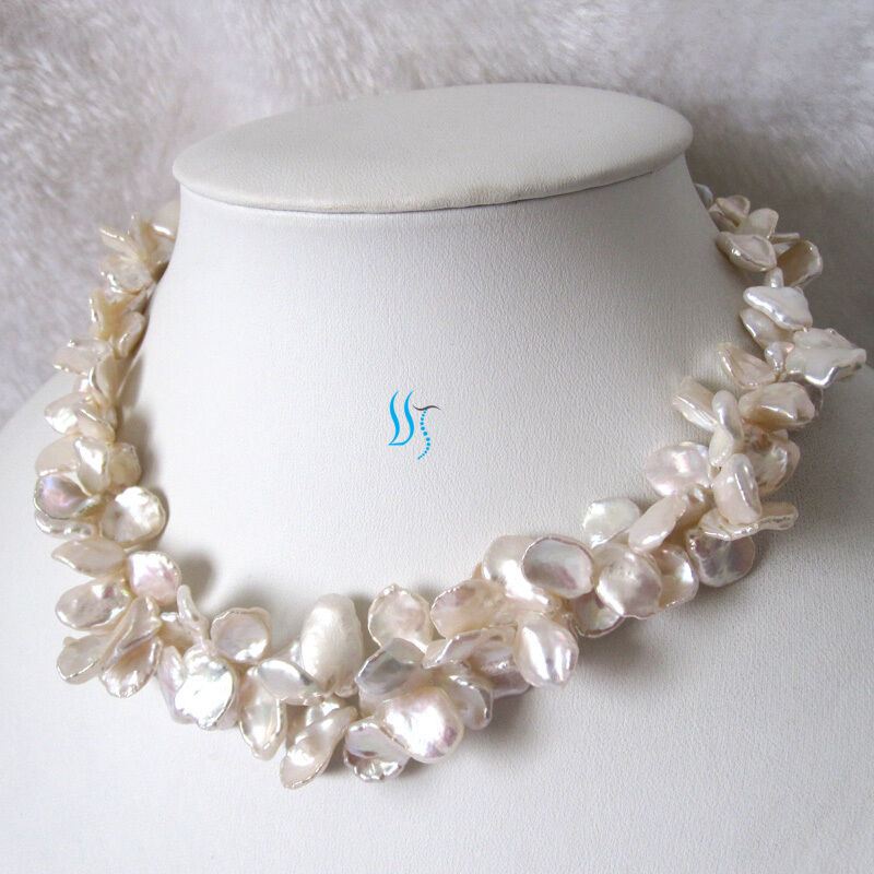 """Keshi Pearl Necklace: 18"""" 2Row 9-15mm White Reborn Keshi Pearl Necklace Fashion"""