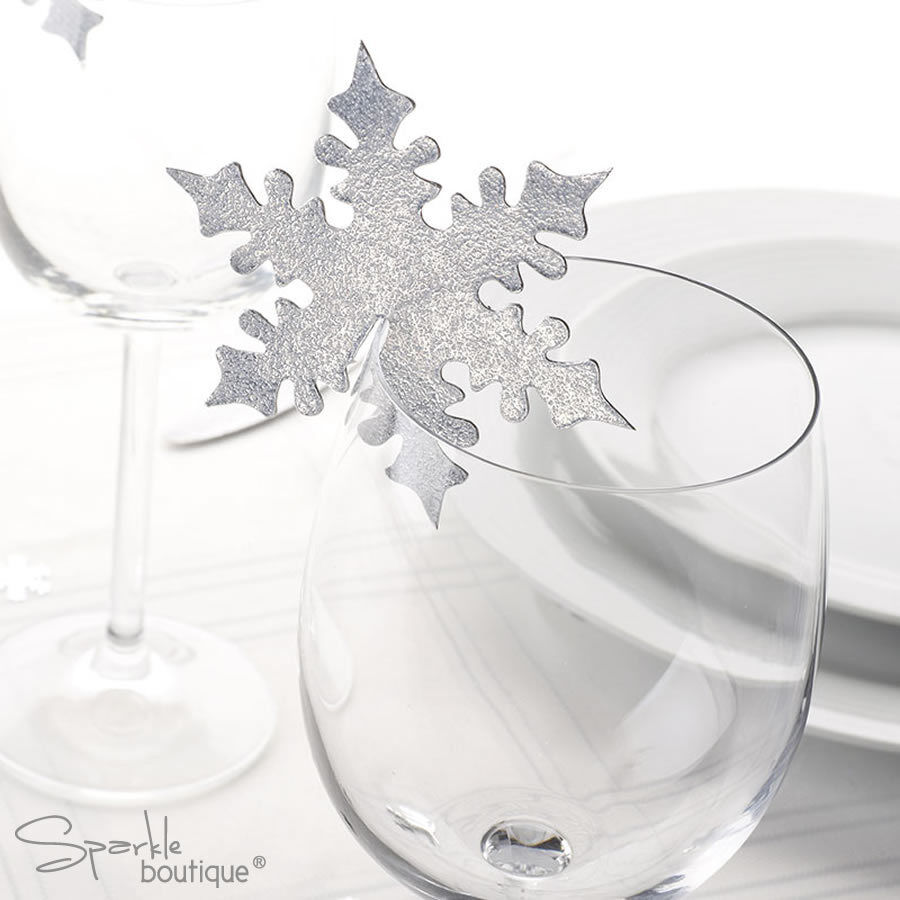 SNOWFLAKE PLACE NAME CARDS FOR GLASS -Christmas/Winter