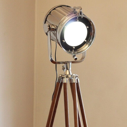 industrial tripod floor lamp nautical spot light floor lamp ebay. Black Bedroom Furniture Sets. Home Design Ideas