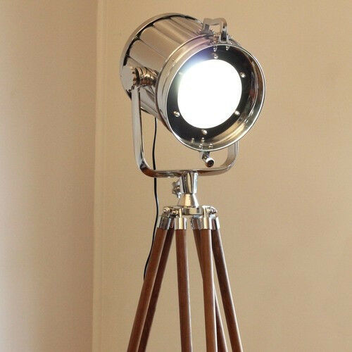 Chrome Vintage Industrial Tripod Floor Lamp Nautical Spot