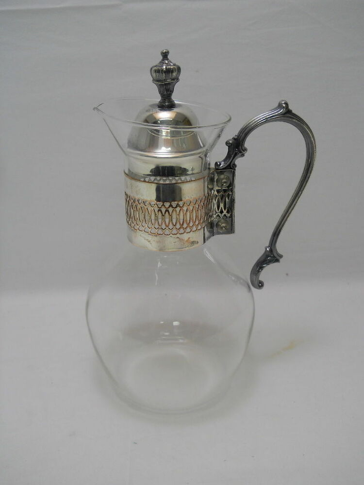 Corning carafe heat resistant coffee tea pitcher w silver handle and lid ebay - Heat proof pitcher ...