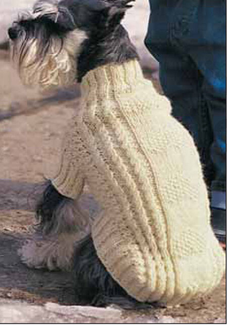 Xl Knitting Patterns : Lovely cable dog coat knitting pattern fits small xl