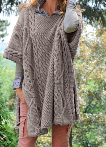 Knitting Pattern- Ladies Cable Longer length Ponch pattern in Chunky wool