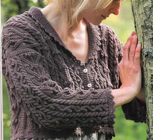 Cotton Cardigan Knitting Pattern : Knitting Pattern- Aran style cropped cardigan In Cotton wool- chest 34-38 eBay